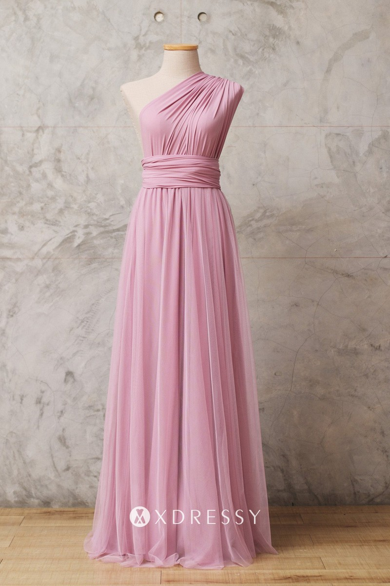 One Shoulder Pastel Pink Multiway Bridesmaid Dress Xdressy