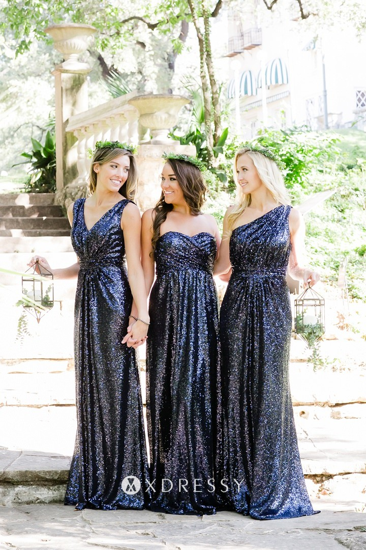Navy Sequin Long Mismatched Bridesmaid