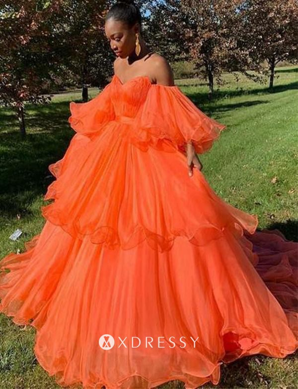 Strapless Flounced Puffy Orange Layered Ball Gown Xdressy