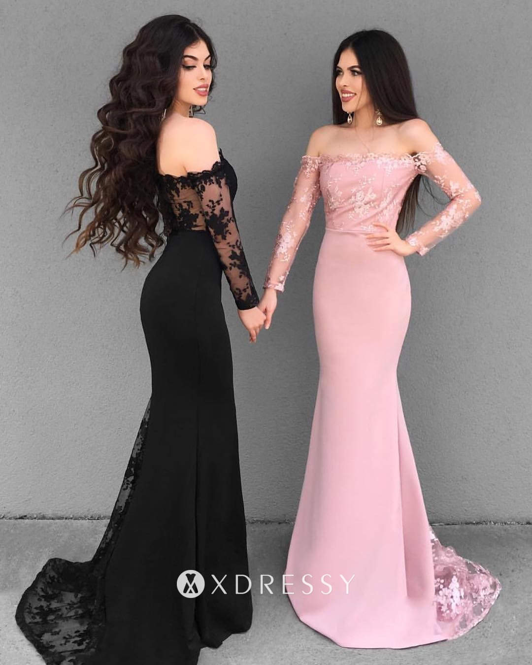 Illusion Lace Off Shoulder Long Sleeve Prom Dress Xdressy,Plus Size Black Dress For Wedding Guest