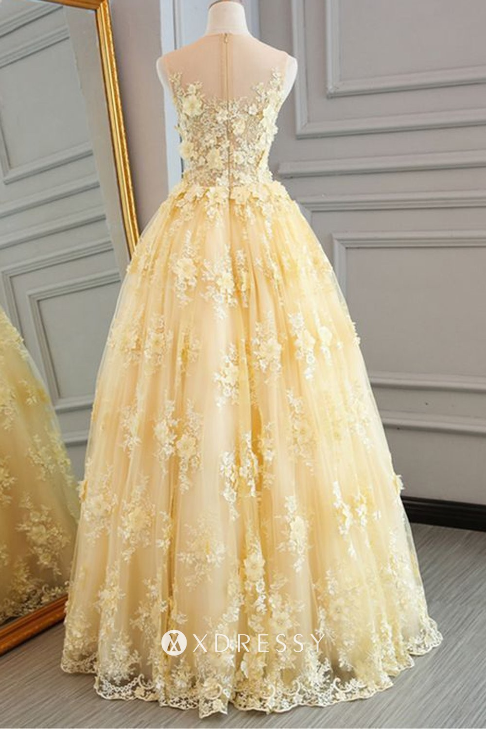 Illusion Neck Yellow Prom Ball Gown