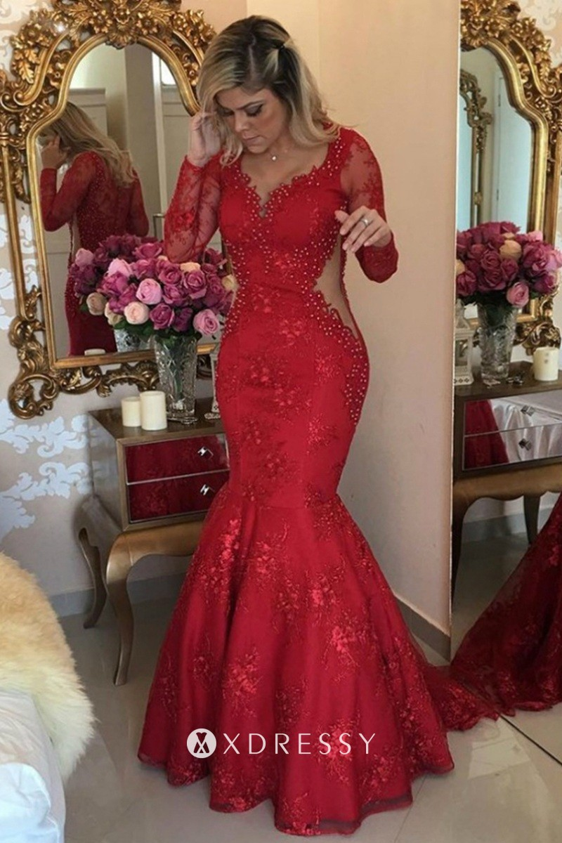 Beaded Red Lace Cut out Trumpet Formal Prom Gown   Xdressy