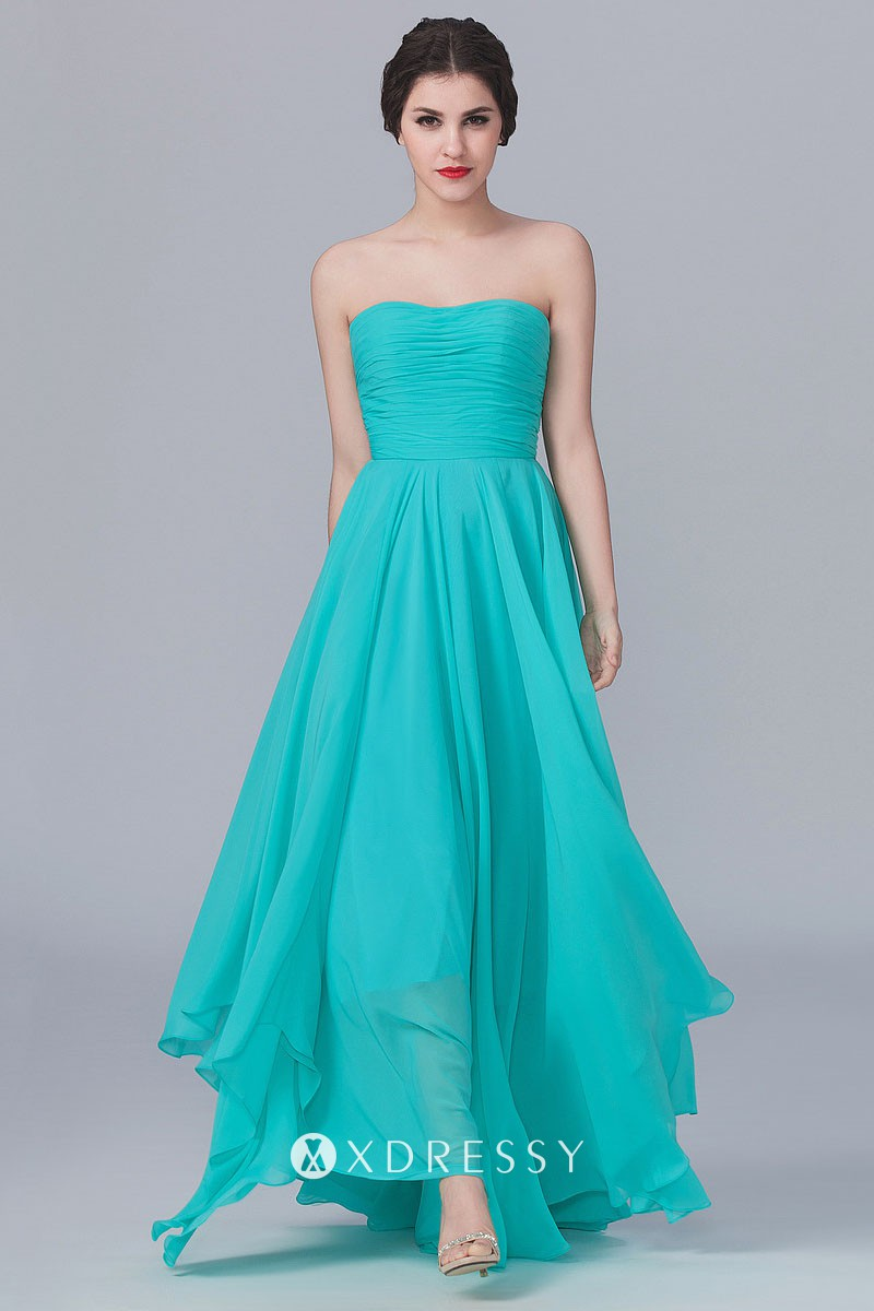 Strapless Turquoise Chiffon Simple Bridesmaid Gown