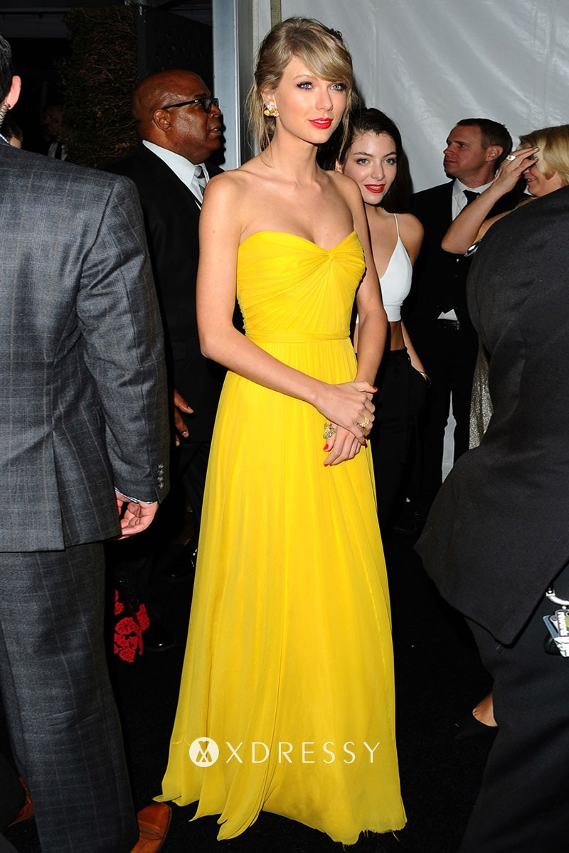 Taylor Swift Yellow Chiffon A Line Long Party Gown Xdressy