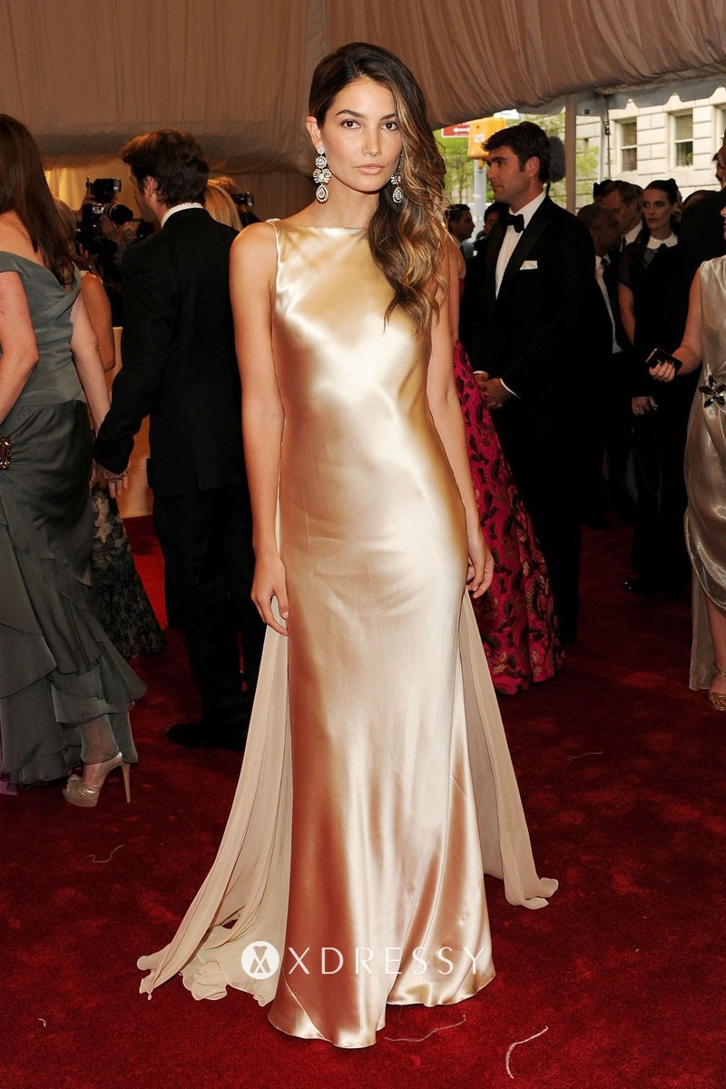 Shiny Gold Satin Boat Neck Low Back Long Prom Gown Xdressy