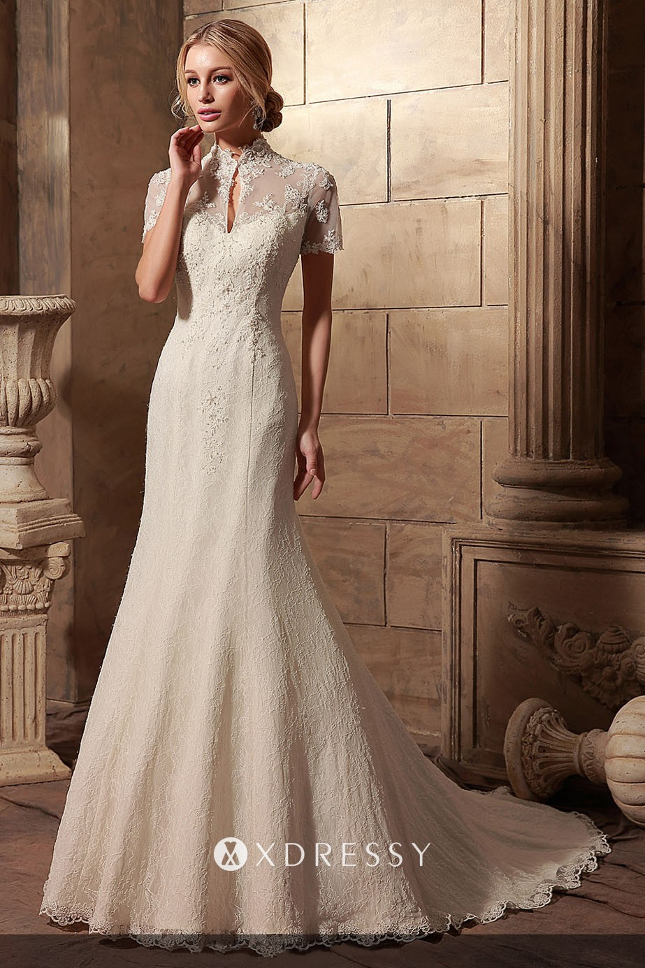 Illusion Lace High Neck Short Sleeve Wedding Dress Xdressy