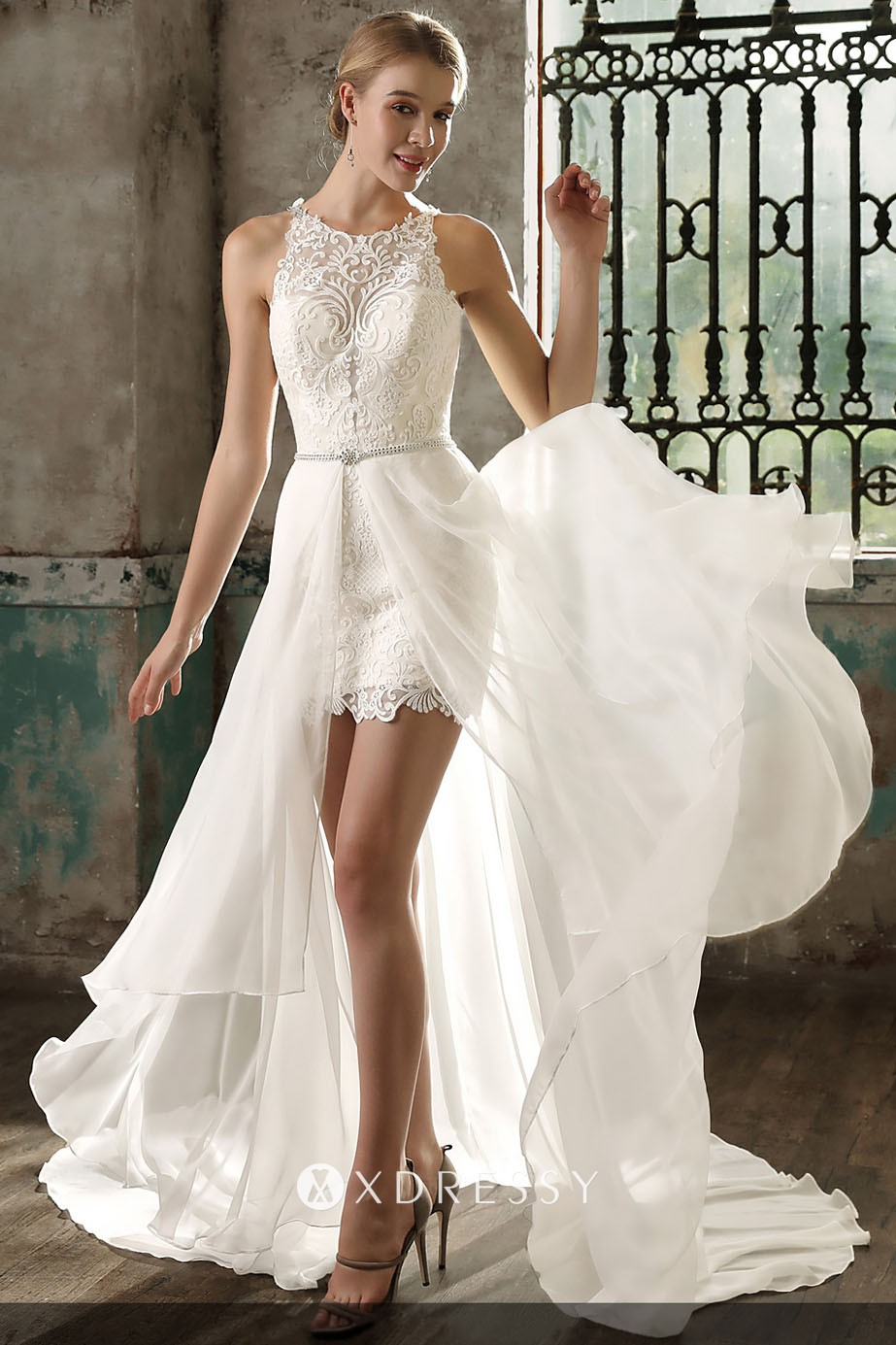 Fashion Lace And Chiffon Two Piece Wedding Dress Xdressy