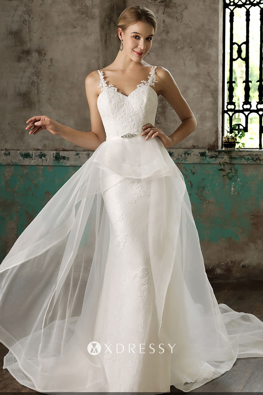 Unique Mermaid Lace Wedding Dress Tulle Overskirt Xdressy