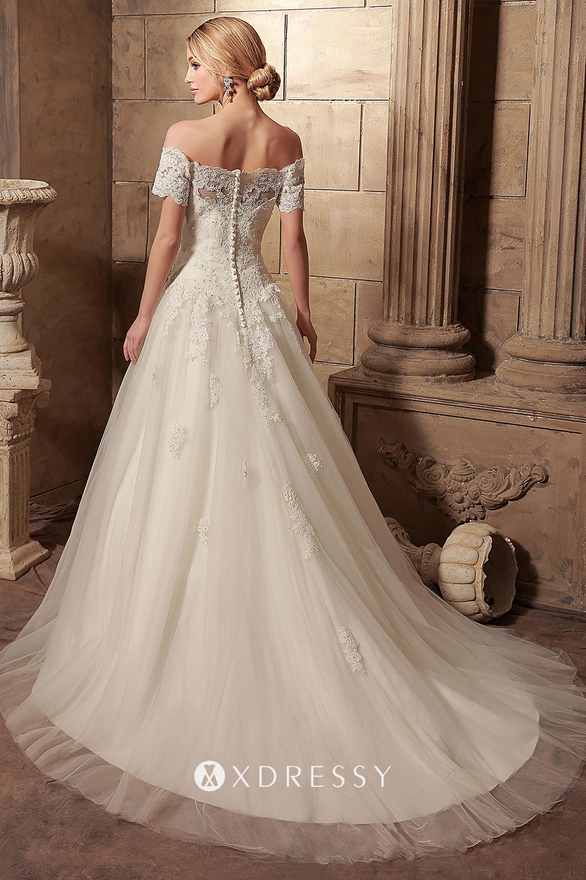 Scalloped Off Shoulder Lace Appliqued Wedding Gown Xdressy
