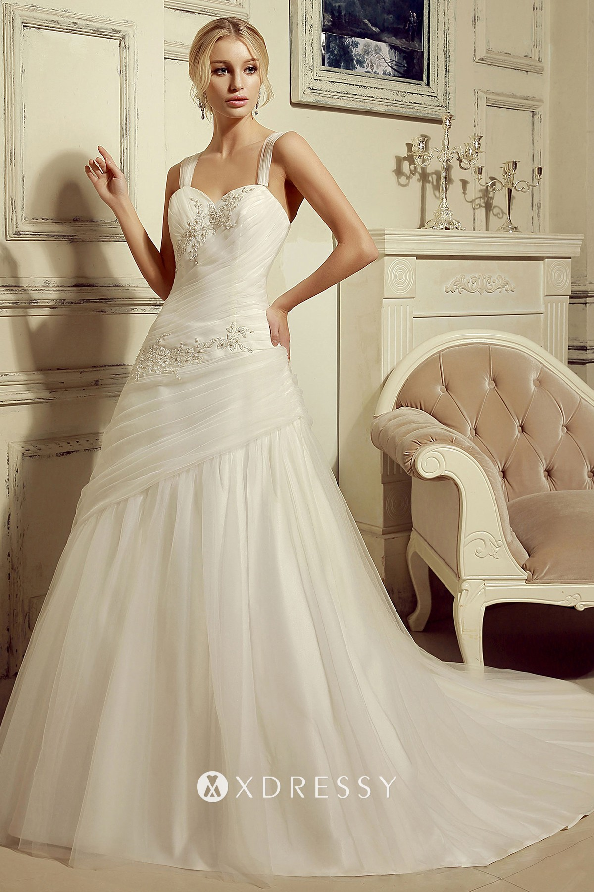 Beaded Lace Pleated Tulle Ball Gown Wedding Dress Xdressy
