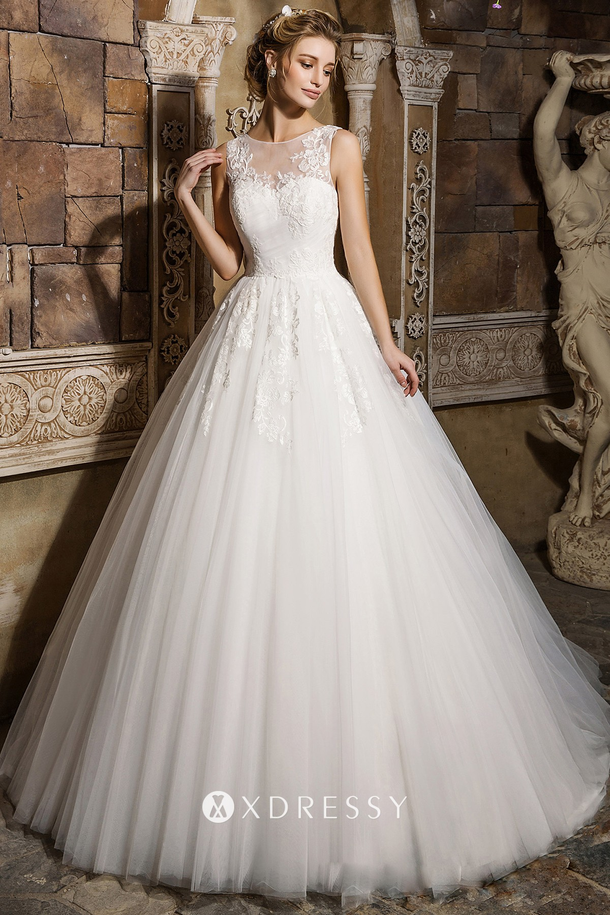 Illusion Sweetheart Pleated Tulle Bridal Ball Gown Xdressy